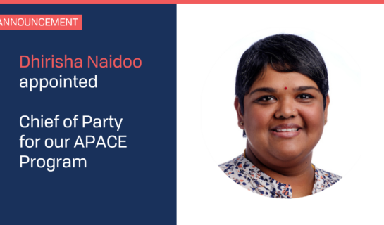 Dhirisha Naidoo appointed Chief of Party for APACE